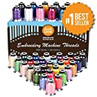 Embroidery Polyester Thread Complete Bundle - 40 Variety Spools - Beautiful Colors Match Brother Machines + Free Bonuses (550yard)