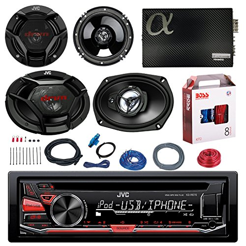 "JVC KD-R670 CD/MP3 AM/FM Radio Player Car Receiver Bundle Combo With 2x JVC 300W 6.5"" 2-Way Car Audio Speakers + 2x 6x9"" 3-Way Stereo Speaker + 1600 Watt Class A/B Amplifier + Boss 8g Amp Install Kit"