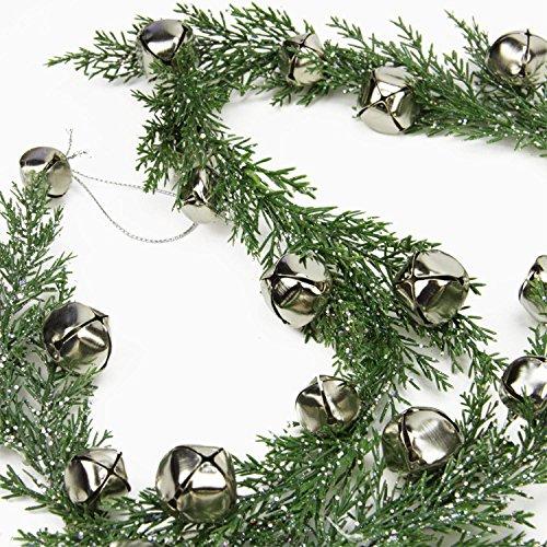 5-silver-jingle-bell-glitter-pine-artificial-christmas-garland-unlit