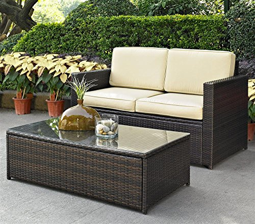 Palm Harbor 2 Piece Outdoor Wicker Seating Set - Loveseat & Glass Top Table image