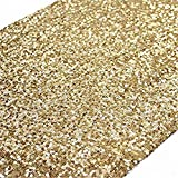 TRLYC 12x 120 Inch Sparkly Gold Sequin Table Runner,Sequin Tablerunner Gold