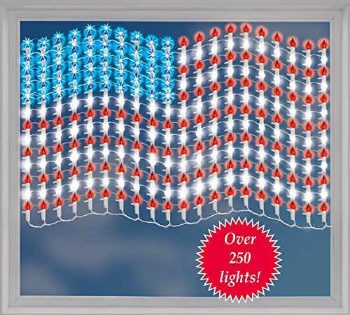 Lighted Patriotic 4th of July Red White Blue Metal Americana Lighted Mesh USA American Flag Artwork Indoor Outdoor Wall Decor