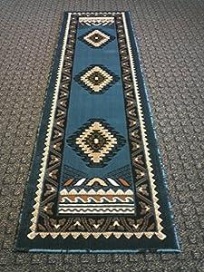 southwest native american runner area rug blue design d143 2ft x7ft. Black Bedroom Furniture Sets. Home Design Ideas