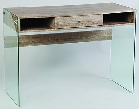 Bureau en MDF et verre trempé, avec tiroir (démonté) - Dim : H 107 x P 48 x Ht 78 cm - PEGANE -