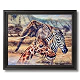 African Elephant Zebra Giraffe Animal Wildlife Home Decor Wall Picture Black Framed Art Print