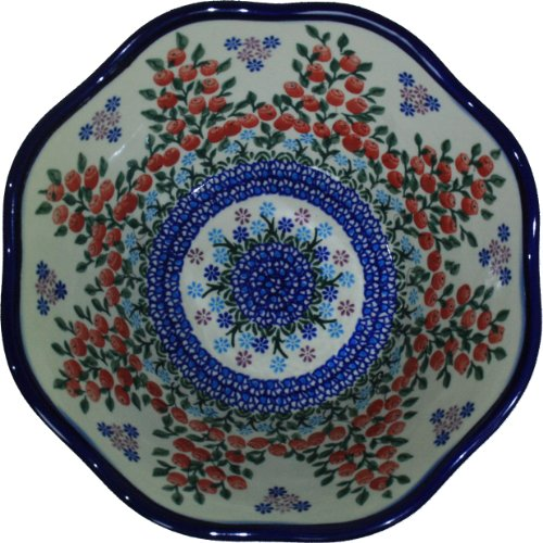 Polish Pottery Ceramika Boleslawiec 0424/282 Royal Blue Patterns 6-1/2-Cup Viki Bowl, Red Berries And Daisies