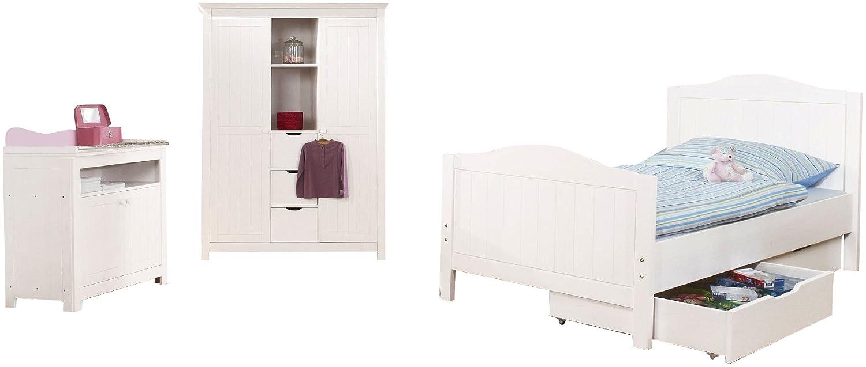 Pinolino 101617JG - Jugendzimmer Nina groß, bestehend aus großem Schrank (2Türen, 3 Schubkästen, 2 offene Fächer), Kommode und Bett (ohne Textilien)
