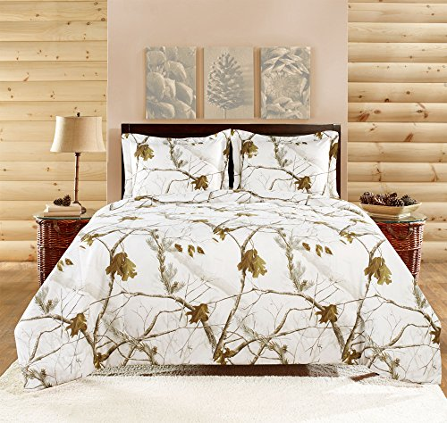 Realtree APC 3 Piece Comforter Set, Full, Bright Snow (Camouflage Comforter Set Full compare prices)