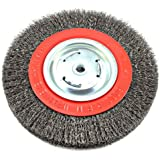 Forney 72762 Wire Bench Wheel Brush, Wide Face Coarse Crimped with 1/2-Inch and 5/8-Inch Arbor, 8-Inch-by-.012-Inch