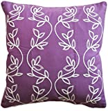 "Vine Embroidery with Piping Decorative Throw Pillow COVER 18"" Purple White"