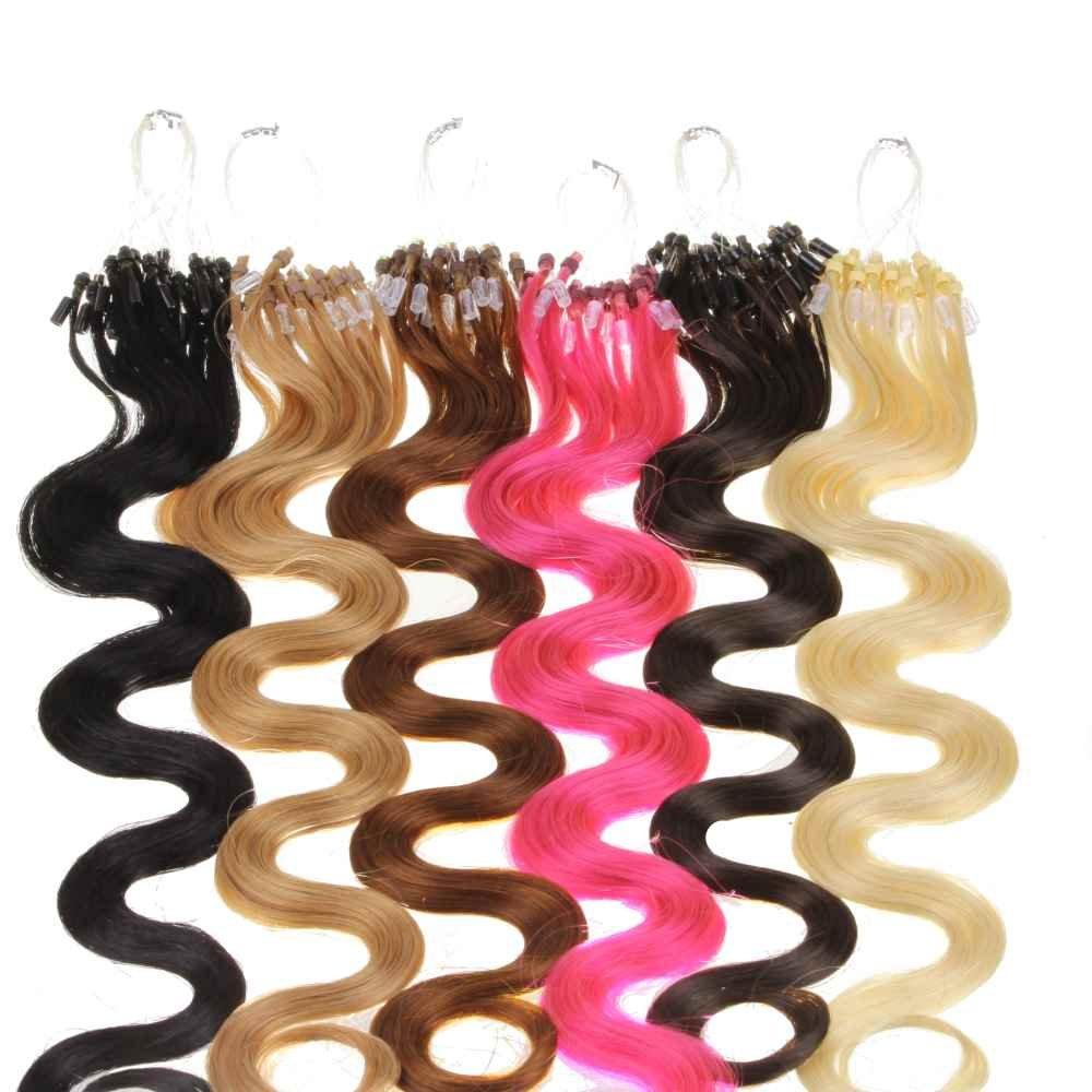 25 x 0,5g Ciocche Remy Hair Extensions / Extensiones de microring de pelo natural - rizado 45cm - #10 castaño muy claro   Comentarios y más información