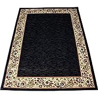 Talas Floral Black 4' x 6' Decorative Area Rug