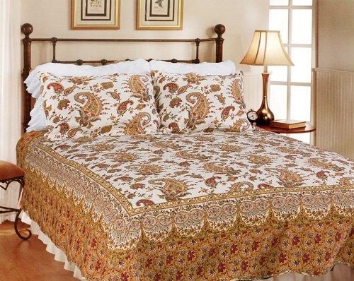 [Renaissance] 100% Cotton 3PC Classic Floral Vermicelli-Quilted Quilt Set (Full/Queen Size)