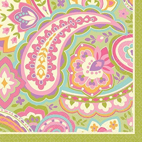 Amscan Disposable 2 Ply Beverage Napkins in Pretty Paisley Print (16 Pack), Multi - 1