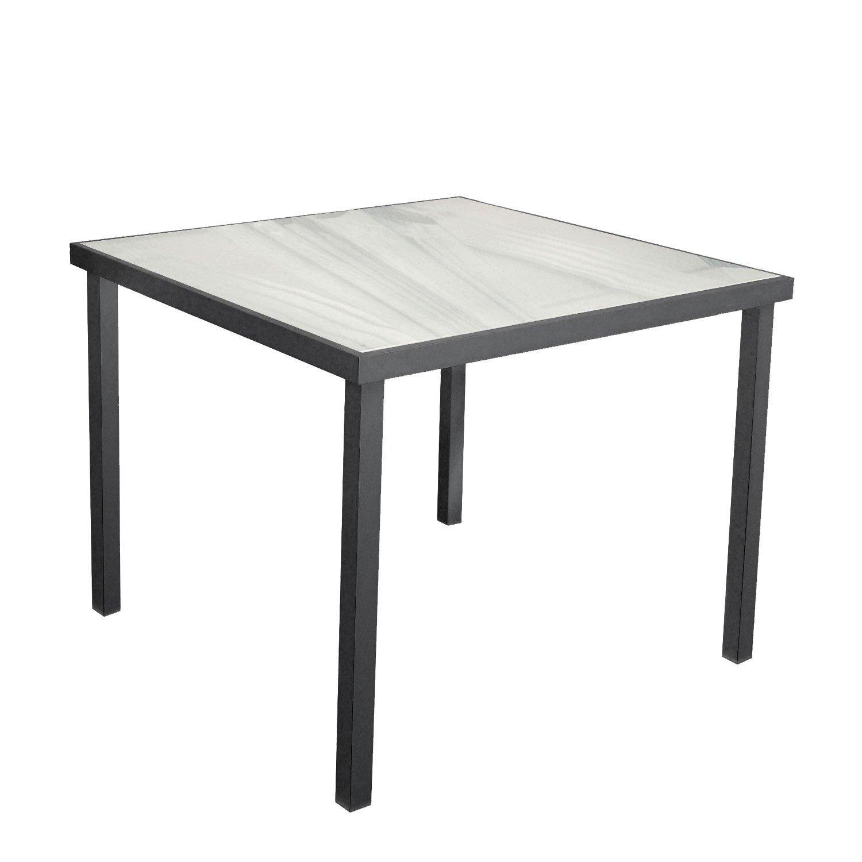 Garten-Glastisch 90x90cm Gartenmöbel Aluminium Beistelltisch Bistromöbel Terrassenmöbel Balkonmöbel Anthrazit/Satiniert