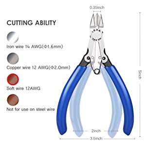 IGAN-330 Wire Flush Cutters, Electronic Model Sprue Wire Clippers, Ultra Sharp and Powerful CR-V Side Cutting nippers, Ideal for Clean Cut and Precision Cutting Needs (Color: Blue, Tamaño: Pack 1)