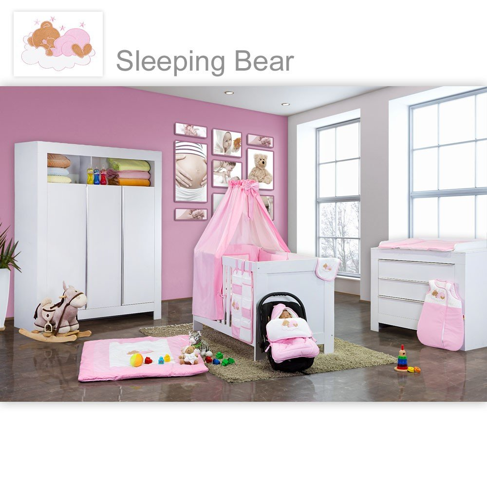 Babyzimmer Felix in weiss 19 tlg. mit 3 türigem Kl + Sleeping Bear in rosa