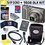 Nikon Coolpix S9100 12.1 MP CMOS Digital Camera (Silver) + 16GB Deluxe Accessory Kit
