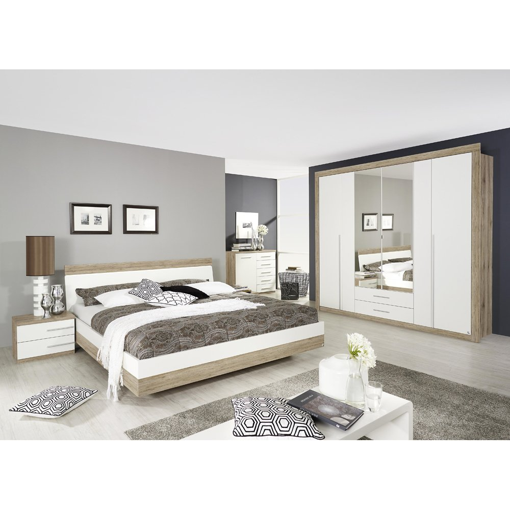 rauch Schlafzimmer Burgos 5-tlg., Eiche Sanremo Dekor/weiß LIEGEFLÄCHE 180X200 CM günstig kaufen