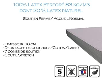 Armorel MAPR18080/200 Physiologic180 Relax Matelas Latex Perforé  Blanc 200 x 80 cm