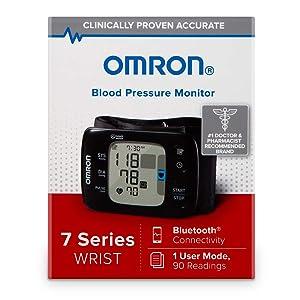 OMRON 7 Series Wireless Wrist Blood Pressure Monitor, Black (Color: Black)