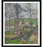 Tallenge Modern Masters Collection - The banks of the Viosne at Osny in grey weather, winter by Camille Pissarro - Framed Art Print (18 inches X 24 inches)