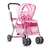 Joovy Toy Doll Caboose Tandem Stroller - Pink Dot (Color: Pink, Tamaño: 6.2 x 13.8 x 26.5)
