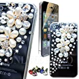 FOR APPLE iPHONE 5 5s HANDMADE LUXURY 3D PEARL CRYSTAL DIAMOND BLING CASE DIAMANTE GEM COVER + SCREEN PROTECTOR , COMES IN ONLINE SOKO PACKAGING