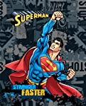 """Superman Fabric Fleece Panel """"Stronger Faster!"""" - Officially Licensed (Great for Quilting, Throws, Sewing, Craft Projects, Wall Hangings, and More) 48"""" X 62"""""""