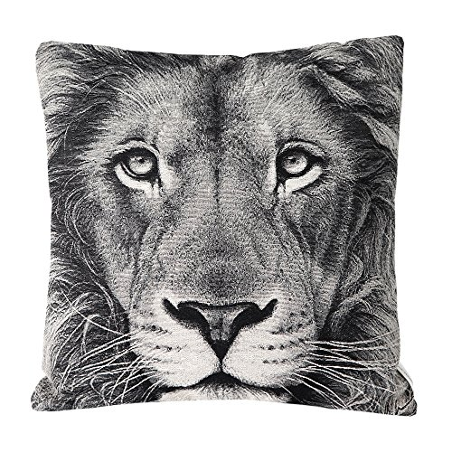 Mika Home Jacquard Lion Animal Style Throw Pillow Case Car Cushion Covers for 18X18(Grey, Cream, Black, Square, 1 Pillowcases)