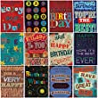 Pack of 12 Large Fonts Trendy Design Birthday Greeting Cards & Envelopes for men/male
