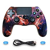 ISHAKO Double Shock PS4 Controller Wireless PS4 Controller for Sony Playstation 4 Remote, Six-axis Bluetooth Gamepad Joystick Controller (Universe) (Color: Universe)