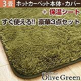 ホットカーペット・カバー 3畳用(240x200cm)+ホットカーペット本体 2点セット オリーブグリーン