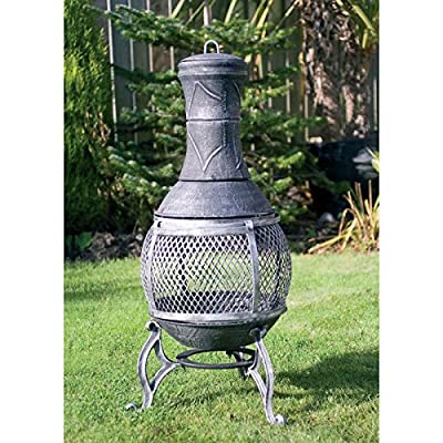 89cm Cast Iron Constructed Steel Barbecue Chimenea Garden Patio Heater Bbq by MLT