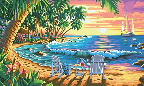 Dimensions Crafts Paintworks Paint by Number Kit, Sunset Beach