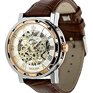 ESS Men's Man Brown Leather Stainless Silver Skeleton Semi Mechanical Mens Men Wrist Watch GIFT WM342