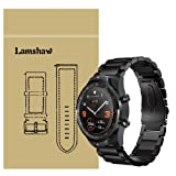 for TicWatch Pro Band, Lamshaw Stainless Steel Metal Replacement Straps for TicWatch Pro/TicWatch S2 / TicWatch E2 Smartwatch Band (Black) (Color: Black)