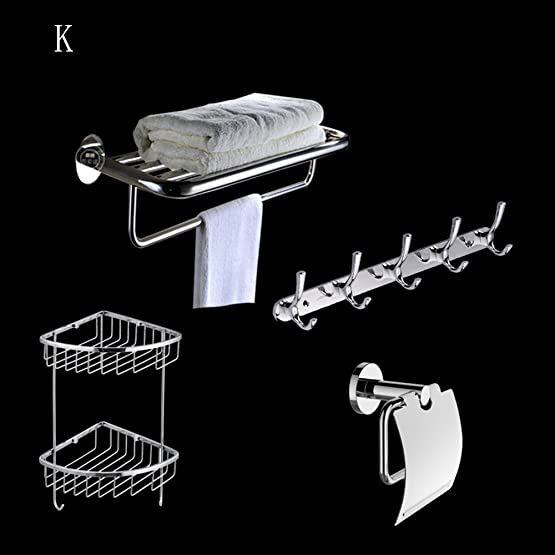XIAOLIN-- Acciaio Inossidabile Pendant Set Portasciugamani Servizi Igienici Scatola Di Carta Zhiwu Jia, Hanging Ganci Bagno Hardware Set Rack (Totale 4) --Scaffali da bagno ( Colore : K )