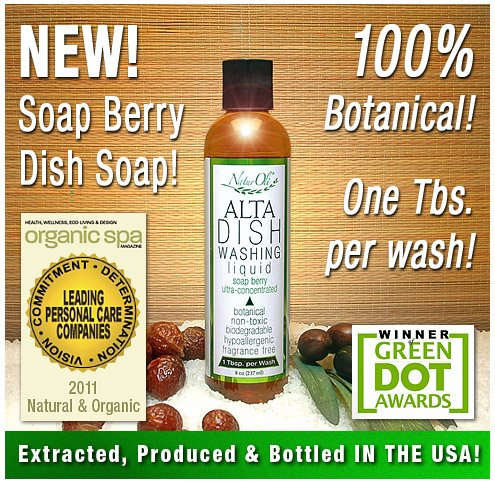 NaturOli ALTA Soap Nut / Soap Berry, All Natural, 100% Botanical Dish Soap Concentrate
