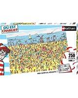 Nathan - 86947 - Puzzle Classique - 250 Pièces - Charlie à la Plage / Où est Charlie ?