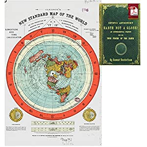 """Flat Earth Map - Gleason's New Standard Map Of The World - Large 24"""" x"""
