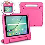 Cooper Dynamo Kids case Compatible with Galaxy Tab S3 9.7 | Shock Proof Heavy Duty Kidproof Cover for Kids | Girls, Boys | Kid Friendly Handle & Stand, Screen Protector | Samsung SM-T820 T825 (Pink) (Color: Pink, Tamaño: Samsung Galaxy Tab S3 9.7)