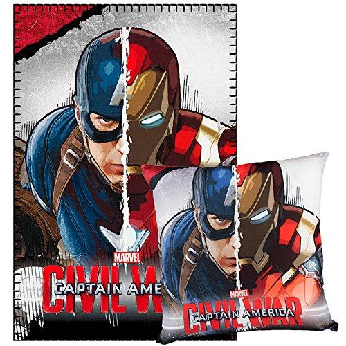 Avengers Capitan America Coperta Plaid in Pile 100x150cm + Cusino 40x40cm ORIGINALE set regalo