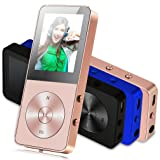MP3 Player - FecPecu Updated Version 8GB Music Players 36 Hours Hi-Fi Sound Playback , Portable Audio Player Build-in Speaker With FM Radio and Voice Recorder Expandable Up To 64GB (F01-Gold)