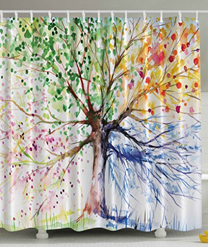 Colorful Tree Four Seasons Shower Curtain, Berry Green Red Yellow Navy ...