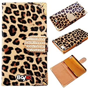Bayke Brand / Apple iPhone 4 & iPhone 4S Fashion Luxury Designer PU Leather Wallet Type Magnet Glitter Bling Crystal Rhinestone Flip Case Cover with Credit Card Holder Slots (Leopard Print / Brown)