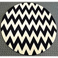 Chevron Round Area Rug # S 260 Black and Off White (7 Feet 8 Inch X 7 Feet 8 Inch)