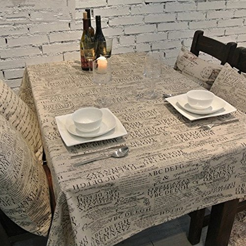 CJ Fashion Newspaper Printed Burlap Vintage Dinner Table Cloth Christmas Gifts 1