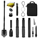 Yeacool Portable Folding Shovel Pickax Military Multitool Tactical Spade for Camping Entrenching Gardening(38 inch Shovel with Survival Kit) (Color: 38 inch Shovel with Survival Kit)