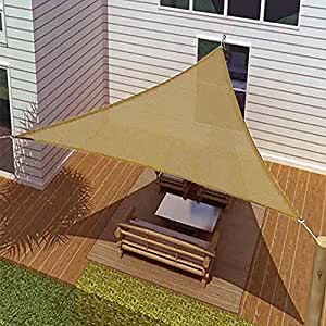 BIG Oversized Tan Triangle Sun Shade Tarp Blocker Sail 16.5' Desert Sand Color